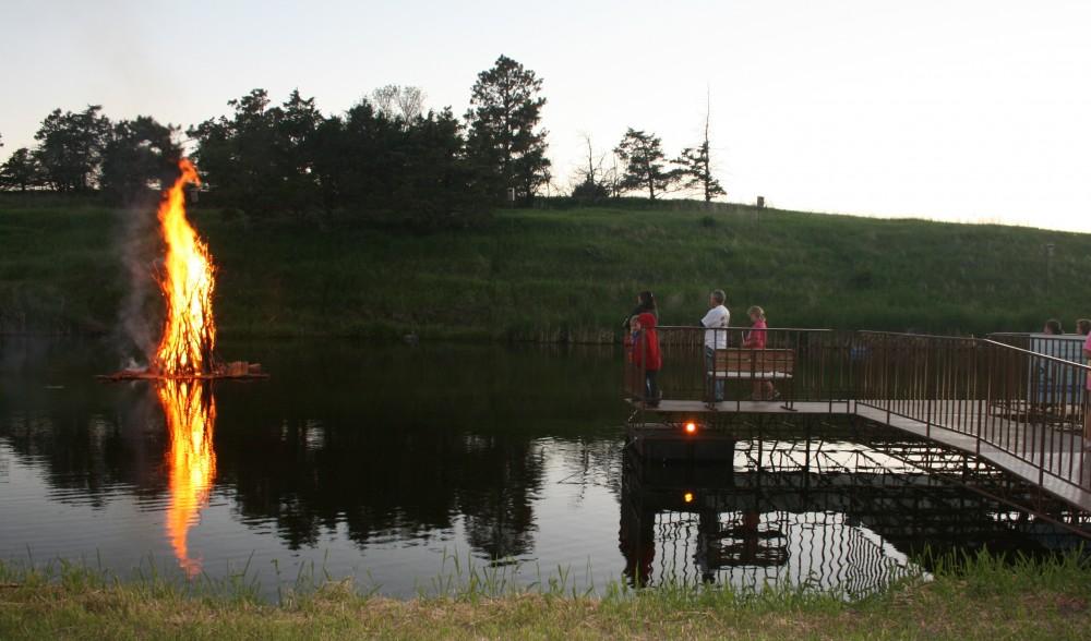 Watching the bonfire from the dock, Finn Fest 2013