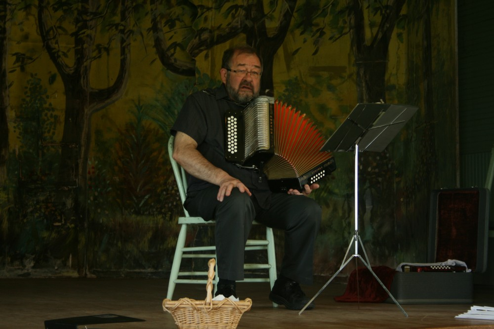 """Larry """"Lauri"""" Saukko performs at Savo Hall during Finn Fest in Frederick, S.D., on June 16, 2013."""