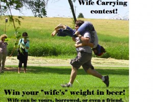 wife carrying contest win your wifes weight in beer